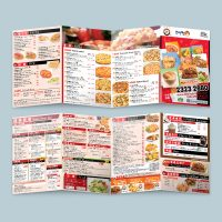 餐廳的外賣餐牌單張設計及印刷 Restaurant leaflet Menu Design and Printing